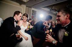 wedding dance floor gets low - bride and groom dance to Shout!