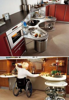 Wheelchair-Friendly Kitchen Design  Very impressive, great looking and functional.