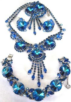 JULIANA BOOK SET! Blue Watermelon Rivoli Necklace Bracelet Pin Earring Set!!