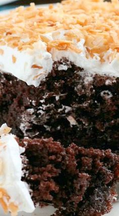 Coconut Cream Chocolate Poke Cake