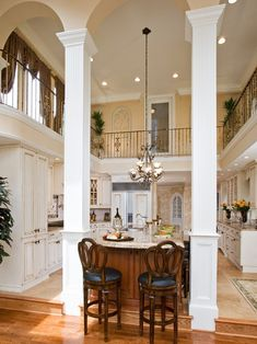 Open two story kitchen