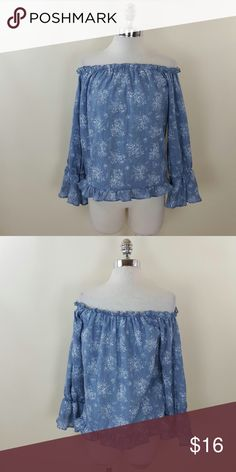 Off shoulder denim print top Off shoulder denim print top 100% rayon Sadie & Sage Tops Blouses