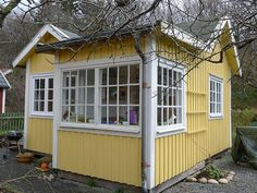 Yellow Tiny House in Gothenburg Sweden