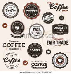stock vector : Set of vintage retro coffee badges and labels