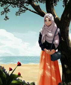Hijabi Girl, Girl Hijab, Muslim Pictures, Hijab Drawing, Hijab Collection, Girly M, Islamic Cartoon, Anime Muslim, Hijab Cartoon