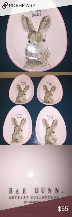 Rae Dunn Easter new set 4 plates New Rae Dunn Set 4 Easter plates. Rabbit/ Easter bunny on front with pink trim. New no chips or cracks. Rae Dunn Other