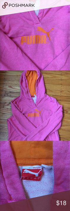 """Neon pink and orange Puma sweatshirt Lightweight, bright pink and orange Puma sweatshirt with a hood...runs small-size medium, but fits like a small...this is not a """" big"""" sweatshirt... more of a cute and sporty sweatshirt. Puma Tops Sweatshirts & Hoodies"""