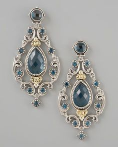 Konstantino with sterling silver, 18kt gold and london blue topazes.