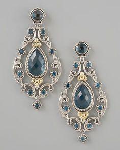 Ohhhhh.......London Blue Topaz Chandelier Post Back Earrings by Konstantino at Neiman Marcus.
