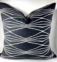 Mid-century modern pillow cover Charcoal Off-White pillow