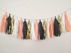 Peach, Gold, White and Black Tassel Garland Banner - Party Decor, Party Banner, Birthday Decoration, Wedding Decor, Halloween