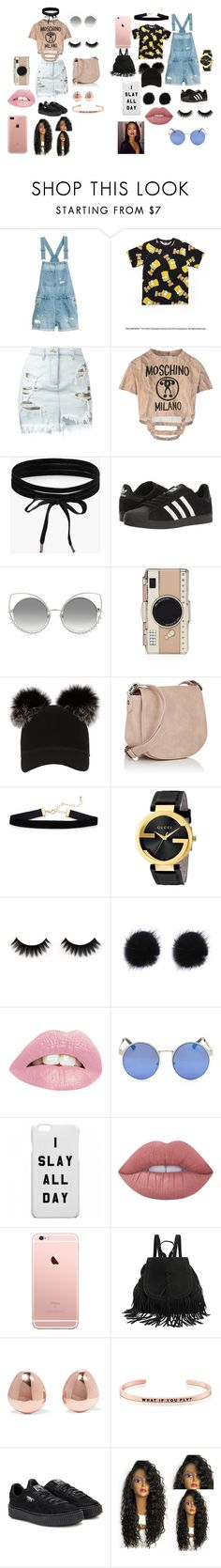 """bestie and i girls night out"" by aniquethompson on Polyvore featuring Versus, Moschino, Boohoo, adidas, Marc Jacobs, Kate Spade, Charlotte Simone, Deux Lux, Gucci and Lime Crime"