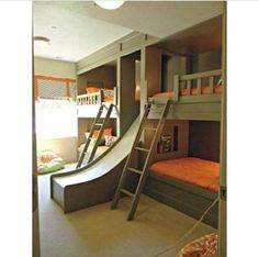 Cool room for kids from the for bunk beds to the slide its fabulous!