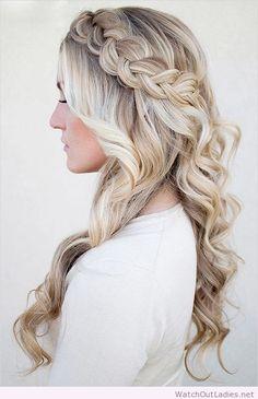 Long braided wedding hair with loose curls