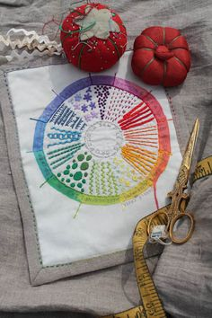 Color Wheel Embroidery Sampler- this looks like the perfect way to learn new embroidery stitches! Hungarian Embroidery, Embroidery Sampler, Hand Embroidery Stitches, Embroidery Art, Cross Stitch Embroidery, Embroidery Patterns, Fabric Art, Fabric Crafts, Art Textile