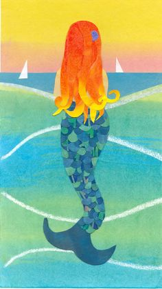 GULF MERMAID  Collage Art Reproduction  Mermaid with by artcollage, $16.00