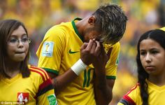 FIFA Mundial Brasil 2014  Emotional: Brazil star Neymar cried during his country's national anthem ahead of Tuesday'...