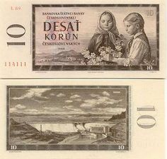 Czechoslovakian banknote from Girls picking flowers and view of Orava Dam - Stock Image