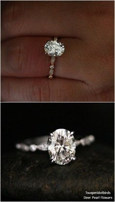 Moissanite Oval Engagement Ring with 9x7mm Classic Moissanite and Diamond Milgrain Band #weddingideas #rings #weddings ❤️ http://www.deerpearlflowers.com/engagement-rings-from-twoperidotbirds/