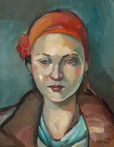 Girl with an Orange Scarf - Original 11x14 portrait in Oil by painter Suzy Keely