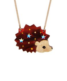 Tatty Devine hedgehog necklace Fix up, look sharp in the Hedgehog Necklace. Laser cut tortoiseshell and pearlescent acrylic combine to recreate a sweet, snuffling hedgehog, studded with Swarovski crystals for extra sparkle. Lily Jewelry, Jewelry Art, Women Jewelry, Devine Love, Devine Design, Tatty Devine, Latest Jewellery, Classic Collection, Jewelry Collection