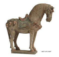 Ceramic Clay Brown Oriental Warrior's Horse Figure / Statue - Golden Lotus Antiques