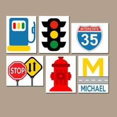 TRANSPORTATION Wall Art CARS Road Signs Stop by TRMdesign on Etsy