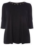Womens DP Curve Plus Size Black Pearl Puff Sleeve T-Shirt- Black