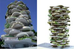 Urban cactus highrise in Rotterdam. Access to exterior garden space on every level!