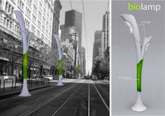 Biolamp City Light Helps Clean Pollution And Makes Biofuel Seo And Sem, Lighting Concepts, Public Seating, Intelligent Design, Black Lamps, White Lamps, Street Lamp, Urban Planning, Vintage Lamps