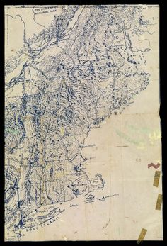 A topographic map of New England (possibly manuscript?)... Image found at www.oshermaps.org