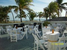 Cocktail hour on the deck.  Beach view of St Pete Beach, Florida.  Wedding in Imperial Ballroom. Grand Plaza Resort