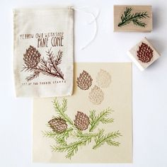 Yellow Owl Workshop Stamp Set - Pine Cone - Fred Aldous