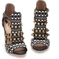 Zara Studded Sandals ($100) ❤ liked on Polyvore featuring shoes, sandals, heels, sapatos, zapatos, multicolour, zara footwear, multi color sandals, colorful sandals and studded heel shoes