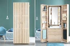 Sem espaço no banheiro? Por fora, este móvel lembra um guarda-roupa, mas não se engane: aberto, ele carrega tudo o que você teria em um banheiro, como espelho, pia, gavetas e nichos para acessórios pessoais. A invenção é da Line Art.
