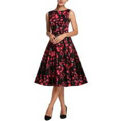 32439414cc2 2016 Women Summer Dresses Robe Vintage Rockabilly Vestidos Rose Floral Print  Retro Swing Pin Up Plus Size Clothing - CEOsShop