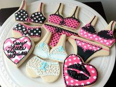Bachelorette Lingerie Party Decorated Cookies- bras, panties, and hearts. $42.00, via Etsy.