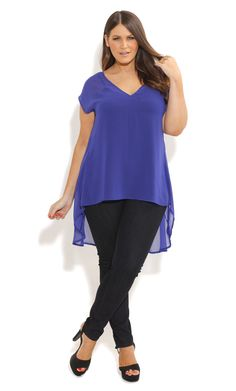 9b9732454ca City Chic - HI LO V NECK TOP - Women s plus size fashion Chiffon Dresses