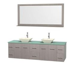 Wyndham Collection, Centra 80 in. Double Vanity in Gray Oak with Glass Vanity Top in Green, Bone Porcelain Sinks and 70 in. Mirror, WCVW00980DGOGGD2BM70 at The Home Depot - Tablet