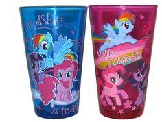 Hasbro My Little Pony Friendship is Magic 2 Piece Pint Glass Set Colored Glass #MyLittlePony