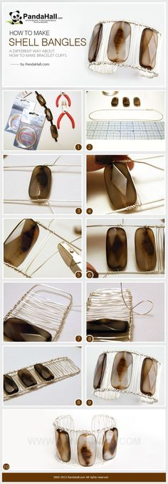 3 steps about how to make bracelet cuffs! Our tutorial will introduce a simple way about how to make shell bangles with copper wire and pliers.