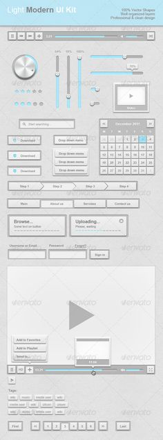 Light Modern UI Kit - GraphicRiver Item for Sale