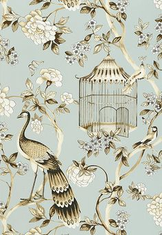 5004080 Schumacher Wallpaper pattern name Oiseaux et Fleurs. Mahones Wallpaper Shop only sells quality no second hand materials with full manufacturer guarantee.
