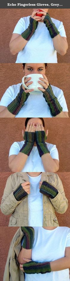 Echo Fingerless Gloves, Grey, Gray, Green, Blue, and Pink Unforgettable Fingerless Gloves for Women, Crochet, Crocheted Arm Warmers, Fingerless Mittens. A hand crochet set of fingerless gloves in an amazing combination of grey, green, and pink. These unforgettable fingerless gloves are warm, soft and fashionable! Style: Unforgettable Color: Echo One size fits most women. While lying flat, these fingerless gloves are approximately 9 inches long by 4 inches wide. Machine wash on gentle…