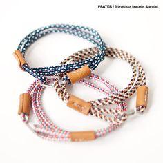 【New】PRAYER / 8 braid dot bracelet & anklet   ストラクト日記 Anklet Bracelet, Bracelet Sizes, Anklets, Bracelets, Closed Toe Shoes, Necklace Extender, Cute Bathing Suits, Chunky Beads, Bracelet Tutorial