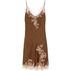 Carine Gilson Lace-appliquéd silk-satin chemise (£180) ❤ liked on Polyvore featuring intimates, chemises, dresses, camisoles and chemises, chocolate, lace camisole, lace camis, lacy cami, lacy slips and silk satin camisole