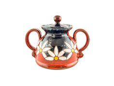 "Handmade Ceramic Sugar Bowl 4"" Daisy - Handmade Ceramics and pottery | Teapots, Coffee and Tea Mugs, Vases, Bowls, Plates, Ashtrays | Handmade stoneware - 1"