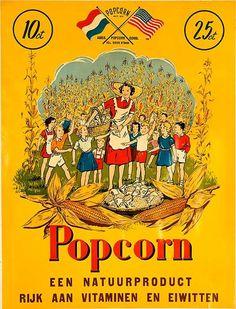 1950s Popcorn Belgian vintage advert poster