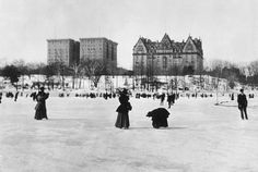 1894: View of men and women ice skating on a frozen pond in Central Park, New York City, looking towards the Hotel Majestic and the Dakota apartment buildings on Central Park West. (Photo by Museum of the City of New York/Byron Collection/Getty Images) via @AOL_Lifestyle Read more: https://www.aol.com/article/weather/2017/01/25/winters-icy-air-rounds-of-snow-to-blast-eastern-us-into-februa/21662620/?a_dgi=aolshare_pinterest#fullscreen