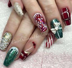 50 Beautiful Stylish and Trendy Nail Art Designs for Christmas Christmas Nail Art Designs, Holiday Nail Art, Winter Nail Art, Trendy Nail Art, Cute Nail Art, Xmas Nails, Christmas Nails, Purple And Silver Nails, Nail Art Noel